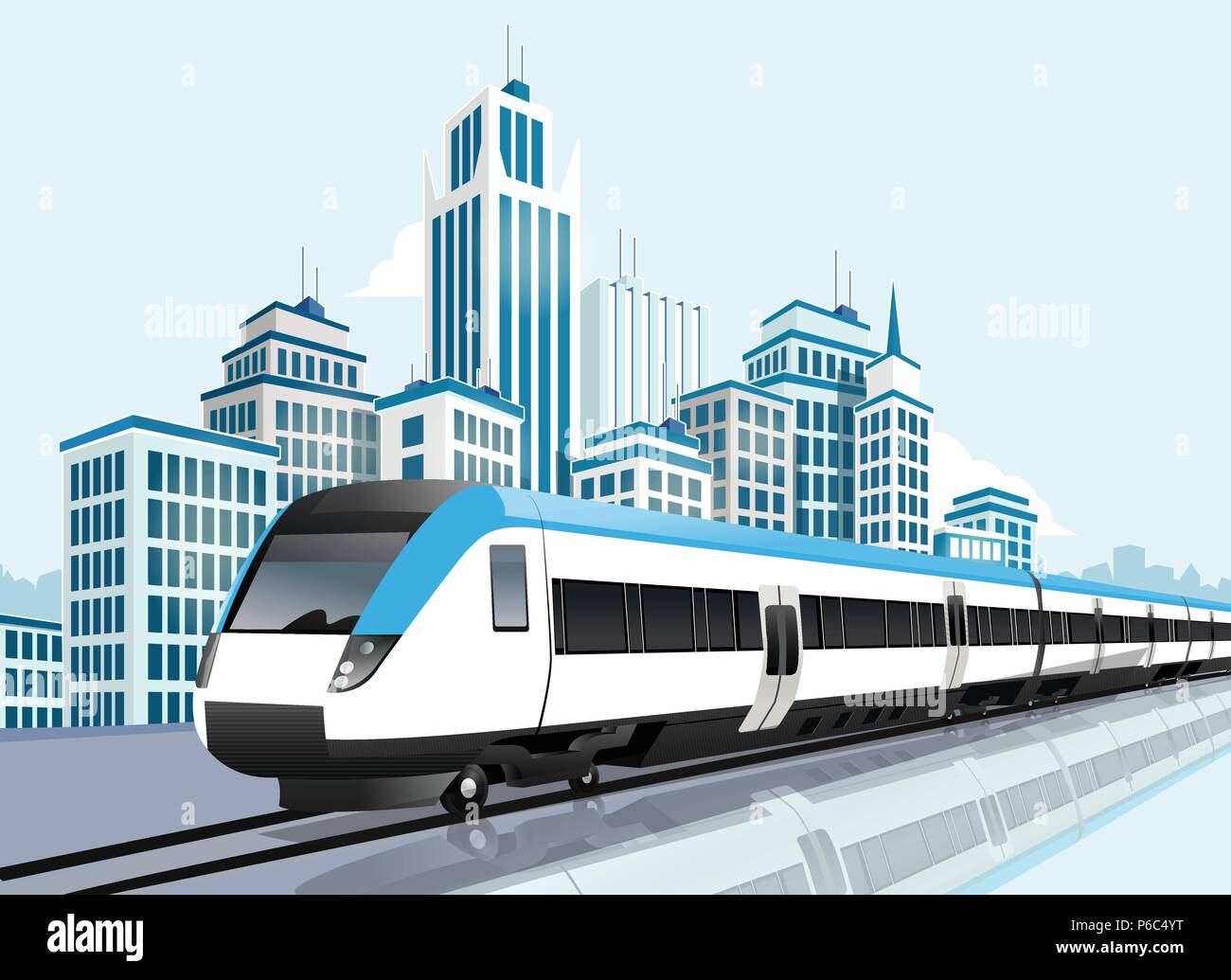 Speedy metro passing in front of modern city, Transportation, Modern life - Stock Vector