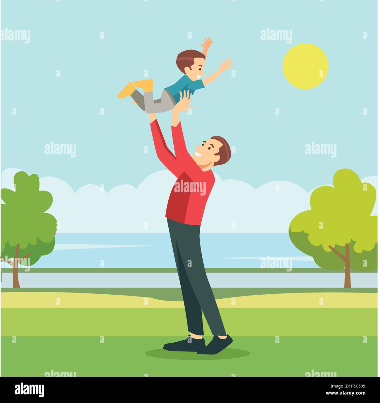 Happy father playing with his son in outside in garden - Stock Vector