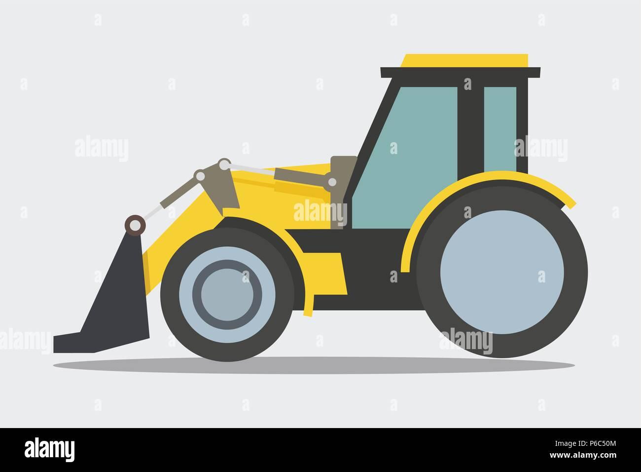 Loader, Bulldozer machine, heavy duty construction equipment - Stock Vector