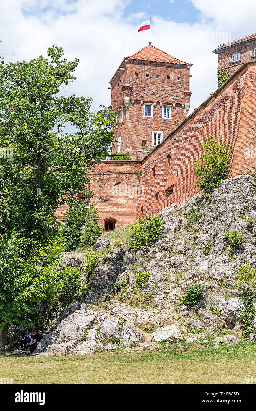 Royal castle Wawel in Krakow (Poland) - Stock Image