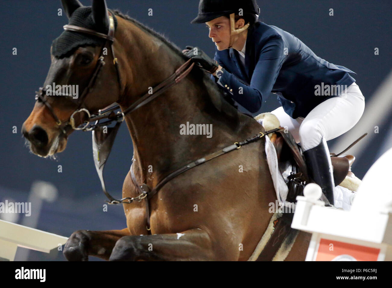 Doha, show jumper Athina Onassis in action - Stock Image