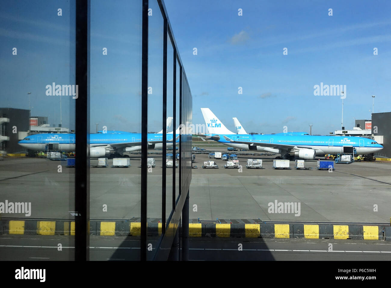 Amsterdam, Netherlands, KLM Airbus A330 on the apron of Schiphol Airport - Stock Image