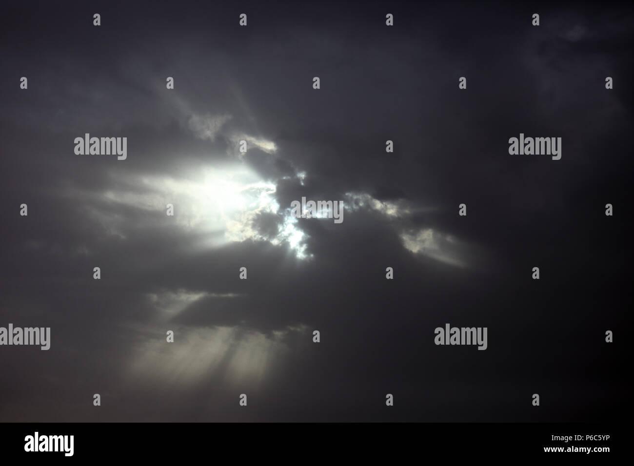 Dubai, United Arab Emirates, menacing clouds sky - Stock Image