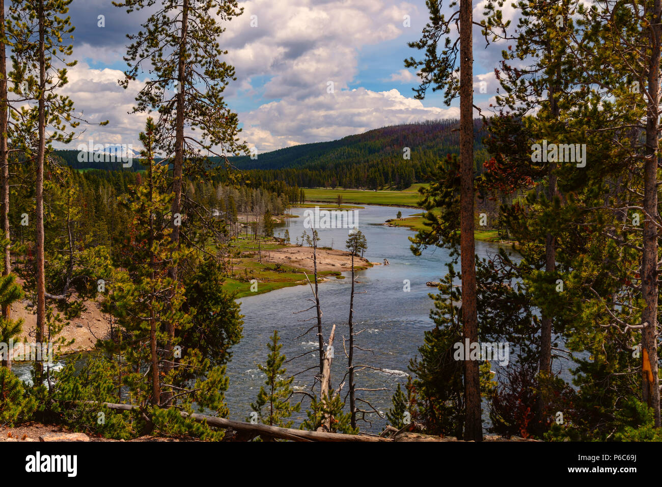 Landscape of the valley with view of the Yellowstone River inside the national park. - Stock Image