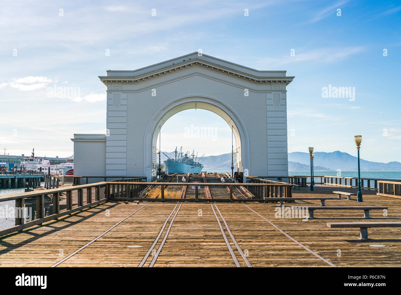 san francisco,california,usa,2016/04/20:  Arch ferry in pier 43 on sunny day. - Stock Image