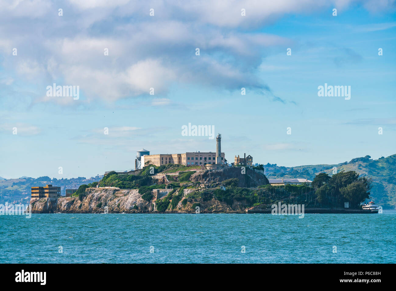 Alcatraz,san francisco,usa.2016.04.20: Alcatraz island on sunny day in summer season. - Stock Image