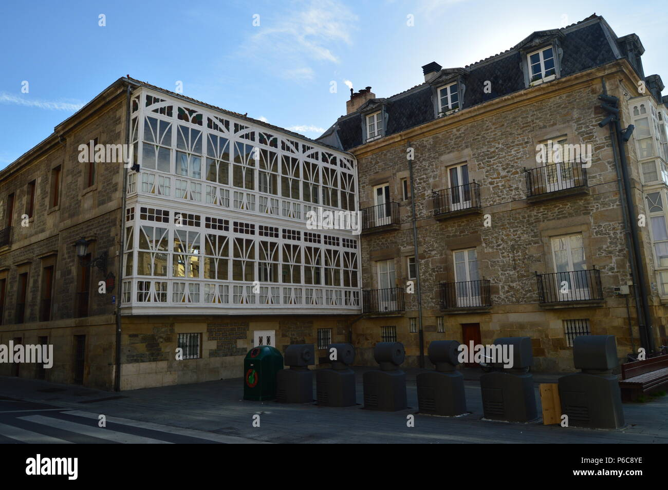 Picturesque Windows Of Typical Buildings Of Vitoria. Architecture, Art, History, Travel. December 29, 2015. Vitoria, Alava, Basque Country. Spain. - Stock Image