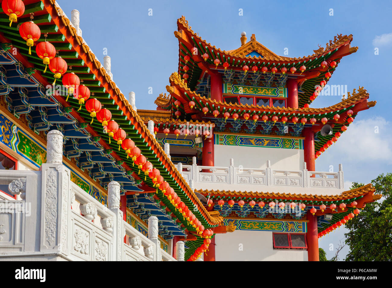 Thean Hou Temple decorated with red Chinese lanterns, Kuala Lumpur, Malaysia - Stock Image