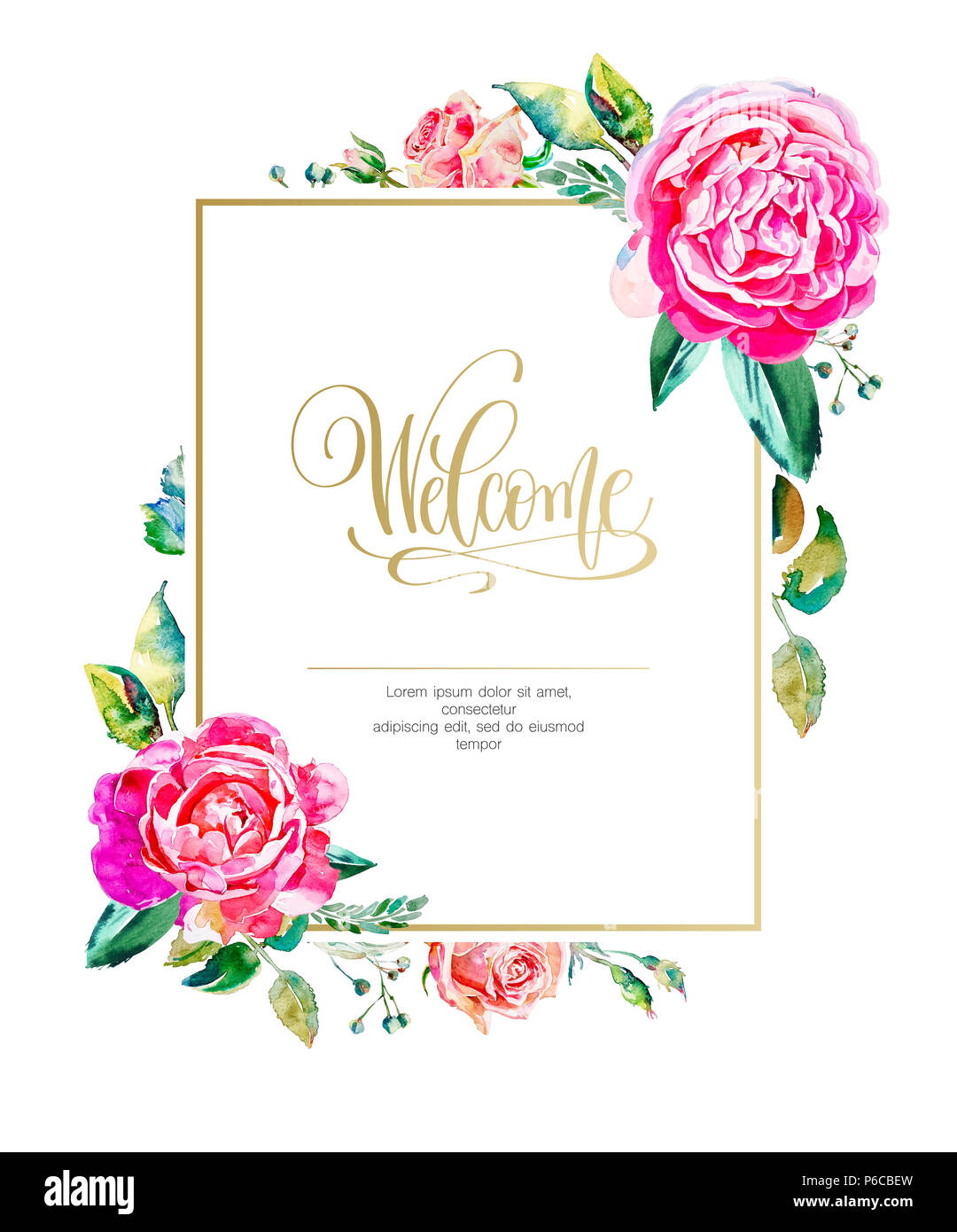 golden frame with watercolor handmade pink roses and hand lettering