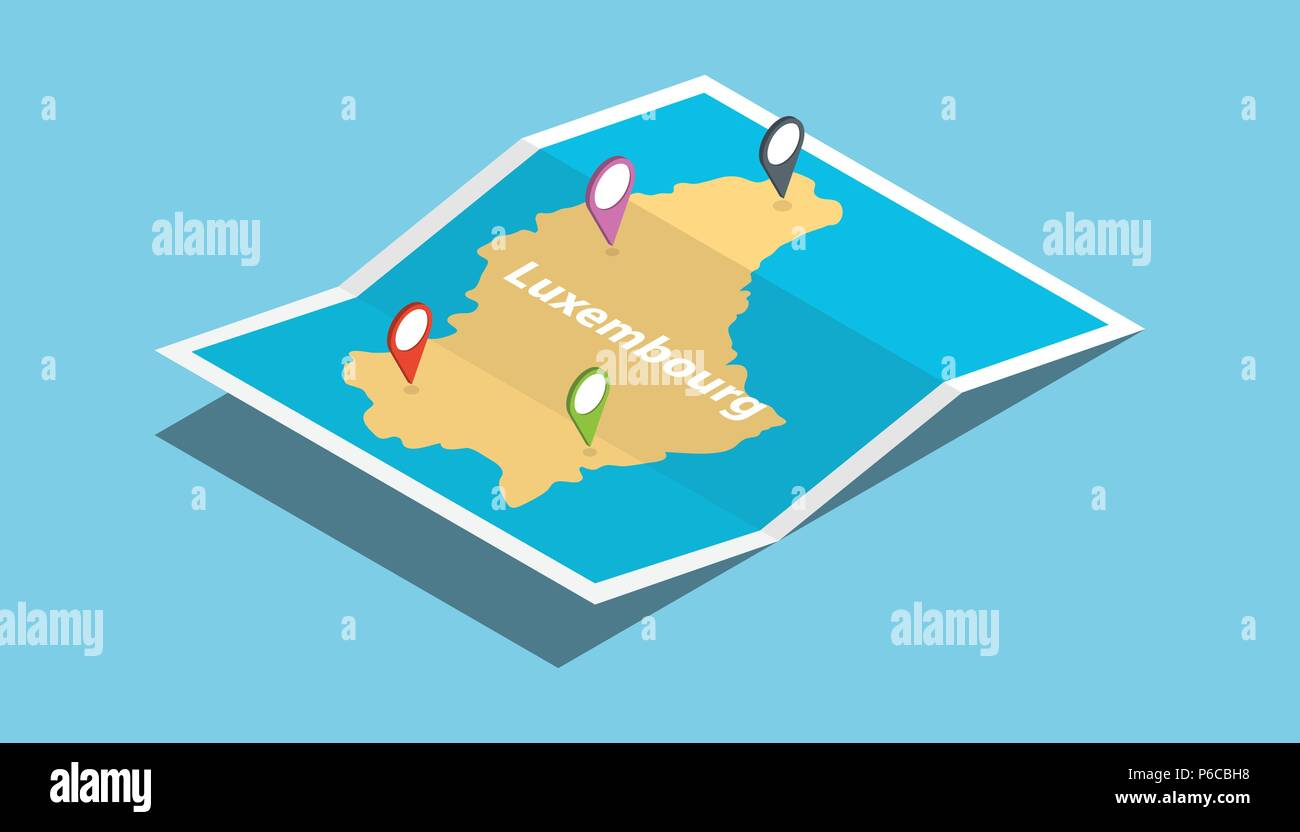 luxembourg explore maps with isometric style and pin ...