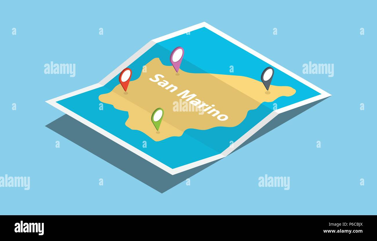 san marino explore maps country nation with isometric style and pin location tag on top vector illustration - Stock Image