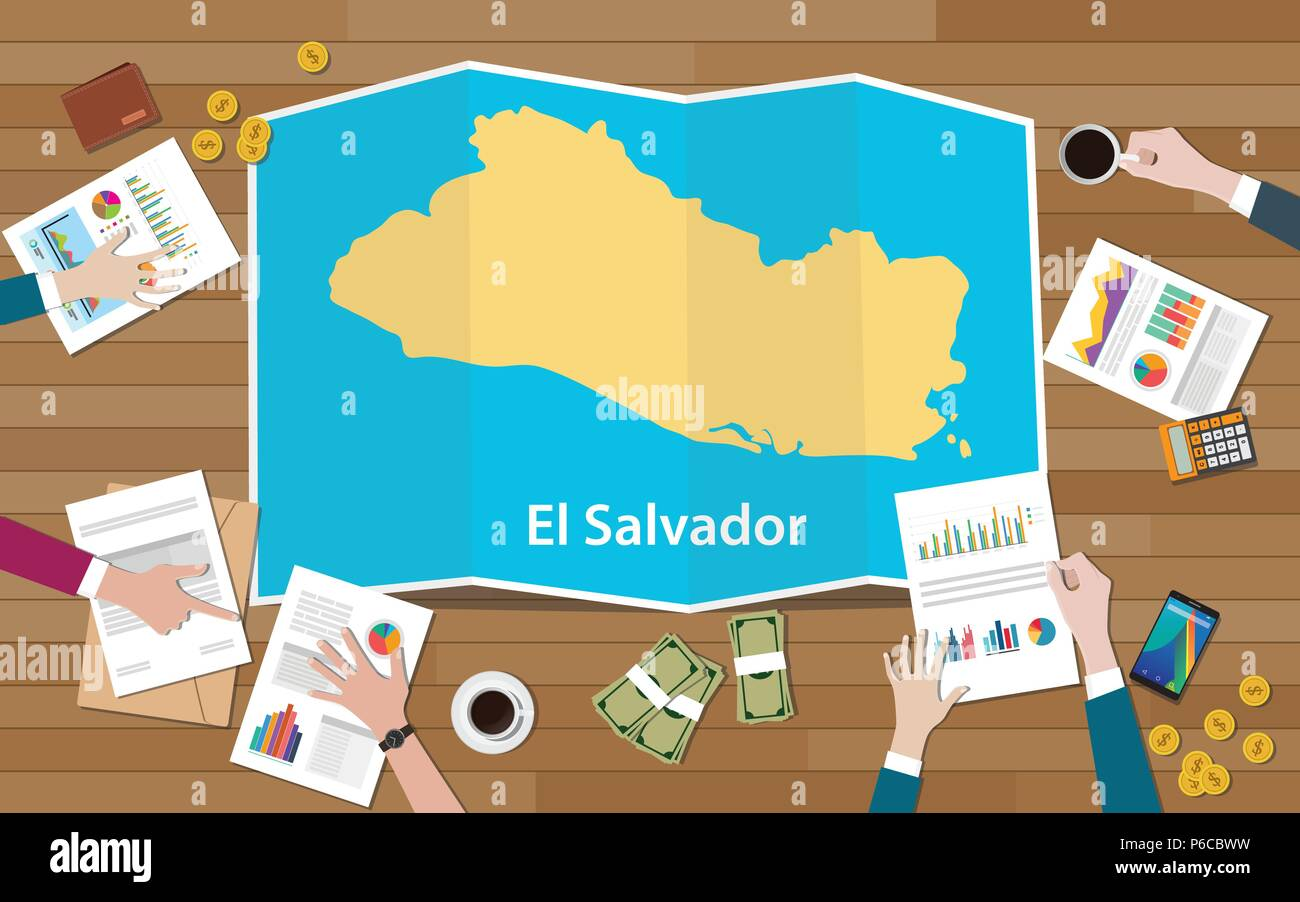 el salvador economy country growth nation team discuss with fold maps view from top vector illustration - Stock Image