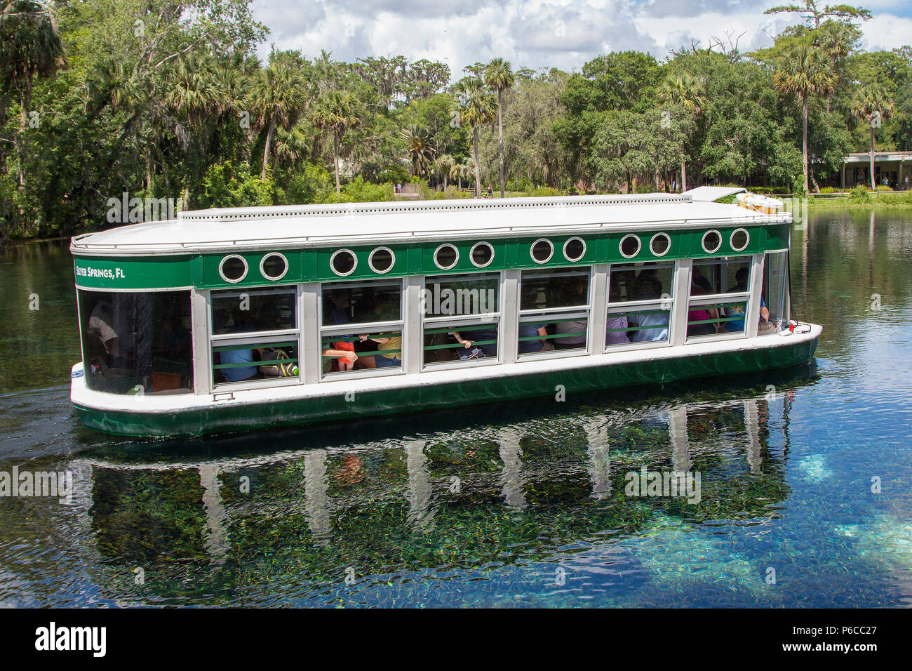 Historic glass bottom boat at Silver Springs State Park, Florida