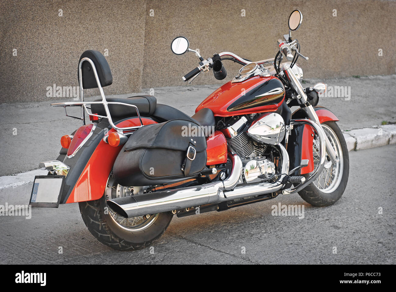 vintage chopper motorcycle parked - Stock Image