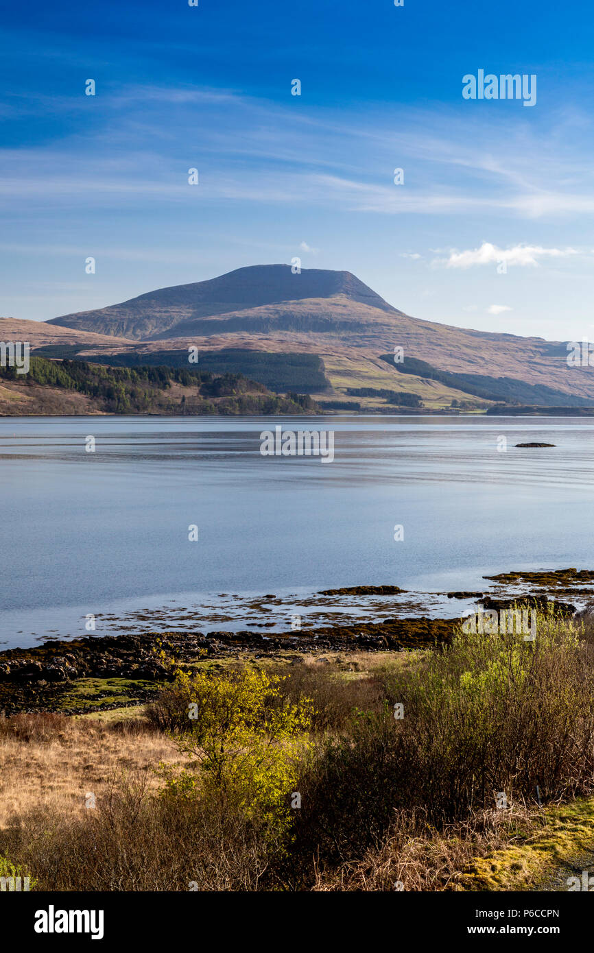 Early morning reflections of Ben More in still waters of Loch Scridain on the Isle of Mull, Argyll and Bute, Scotland, UK - Stock Image