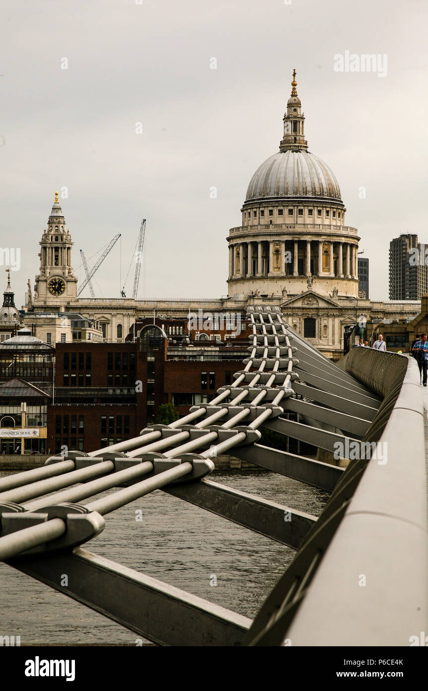 Section of the Wobbly Bridge London ( London Millennium Footbridge ) Crossing over the River Thames leading to St Paul's Cathedral, England. Stock Photo