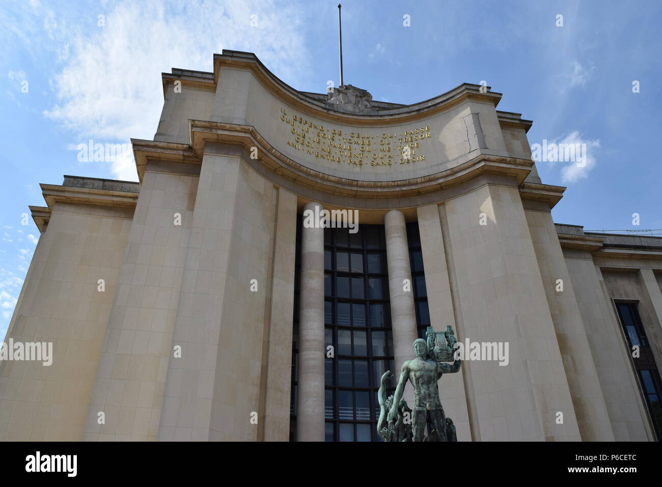 Located just in front of the Eiffel Tower, this Palais de Chaillot is full of tremendous architecture. Stock Photo