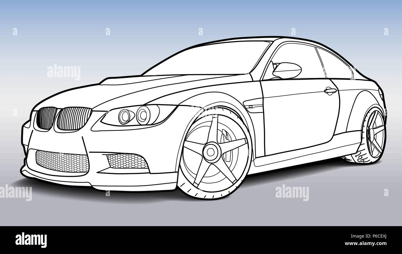 Detailed Vector Draw Of A Flat Sport Car With Black Stroke Option
