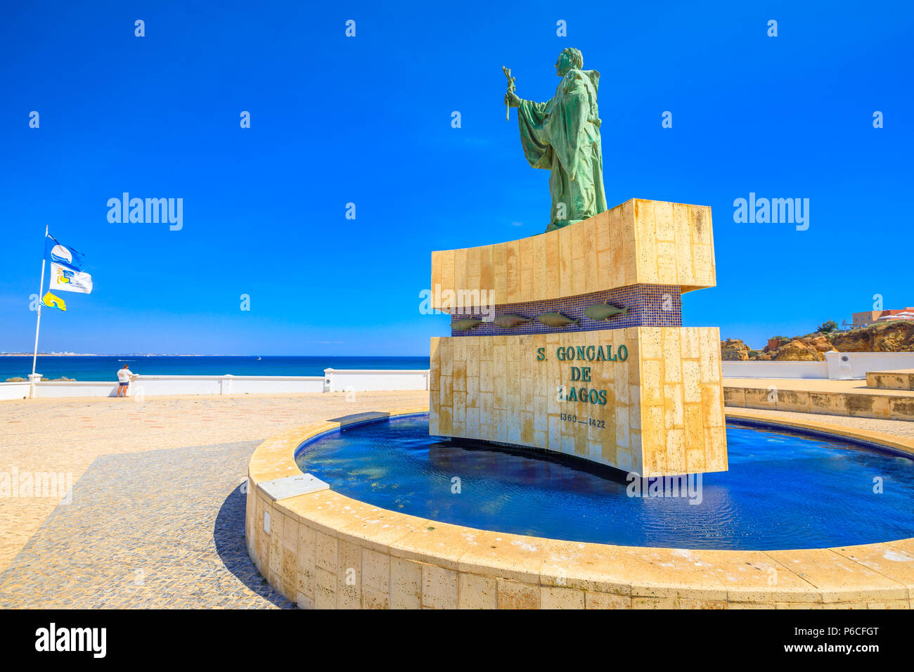 Lagos, Portugal - August 19, 2017: statue of Sao Goncalo de Lagos, a Portuguese saint, revered above all by the Algarve's fishermen for protection while at sea.Lagos near Batata Beach in Algarve Coast - Stock Image