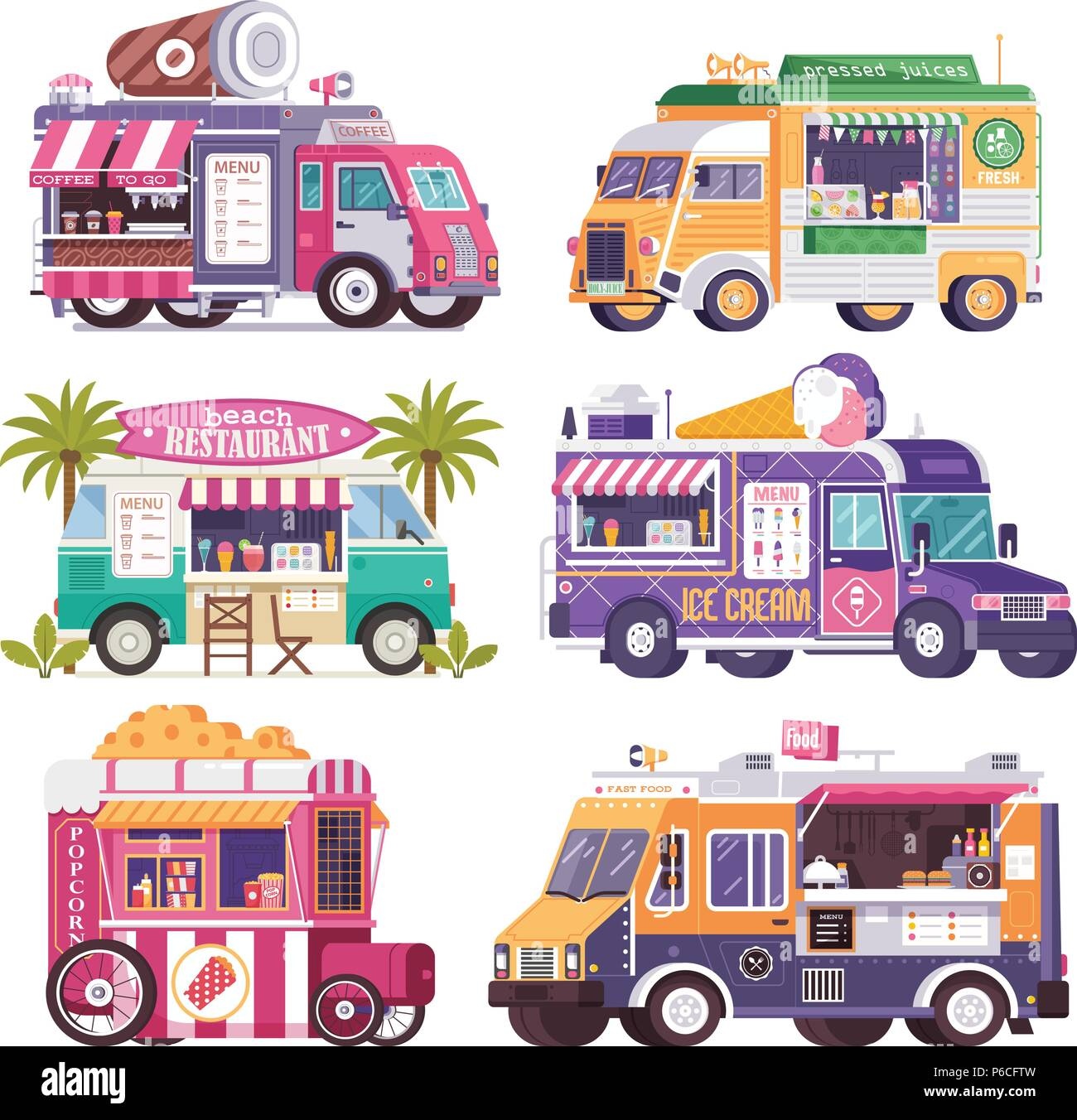 Street Food Trucks and Vans Icons Stock Vector