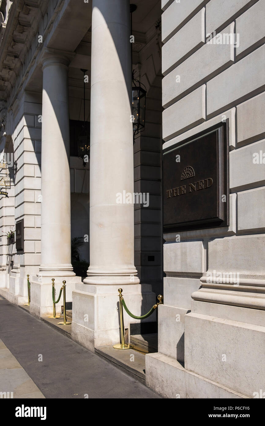 The Ned hotel housed in the former Midland Bank building on Poultry, London, England, U.K. - Stock Image