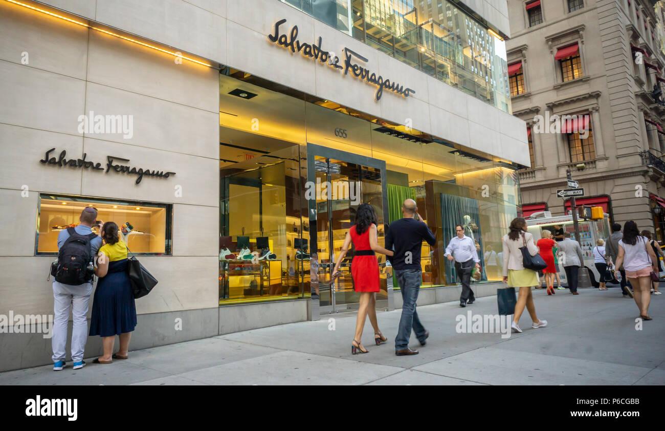 The Salvatore Ferragamo store on Fifth Avenue in New York on Tuesday, June 19, 2018. Ferragamo Finanziaria has sold a 3.5 percent stake in the company although the family still controls 65 percent of the stock. (© Richard B. Levine) - Stock Image