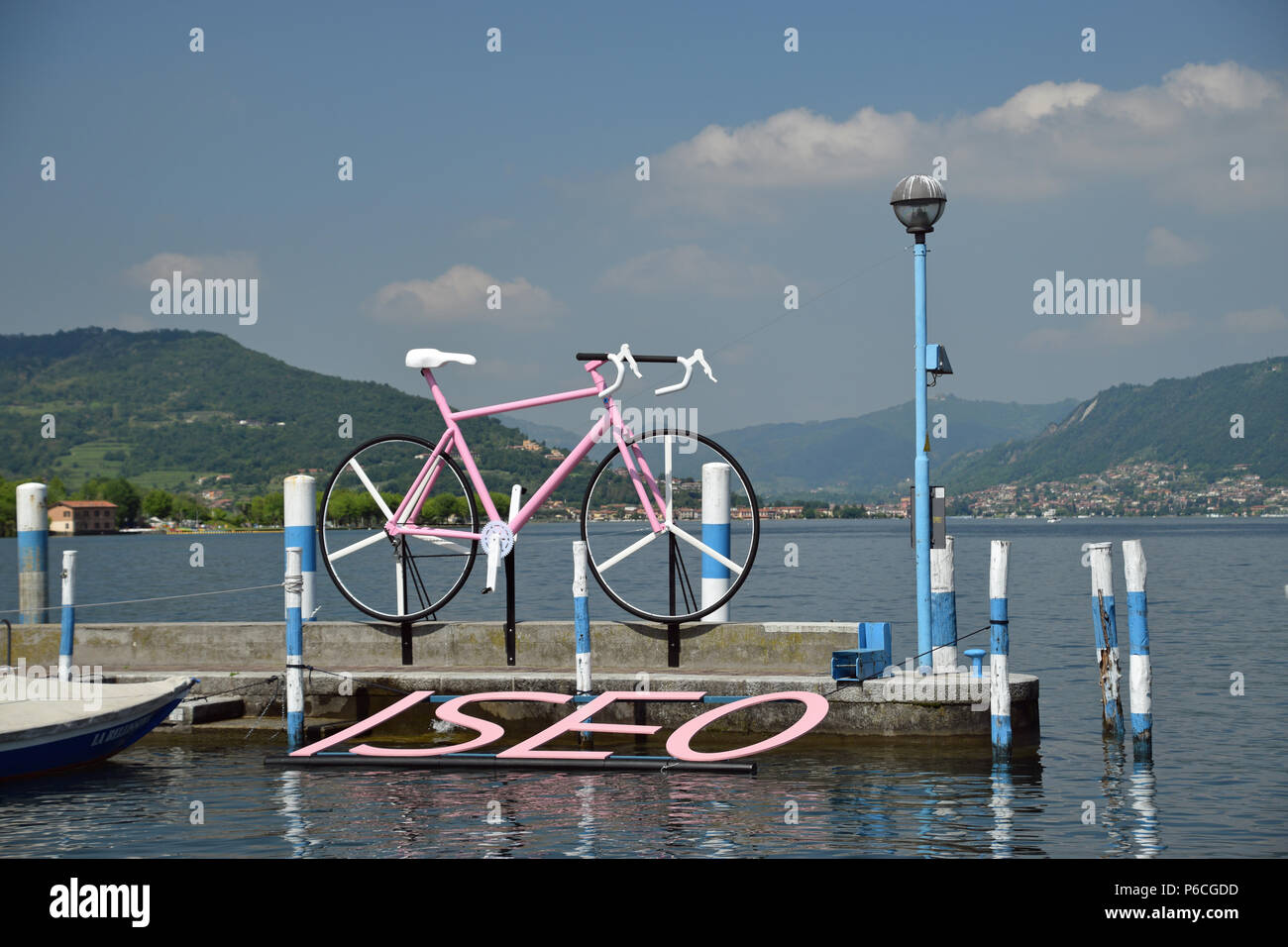 Giro d'Italia on Lake Iseo - Stock Image