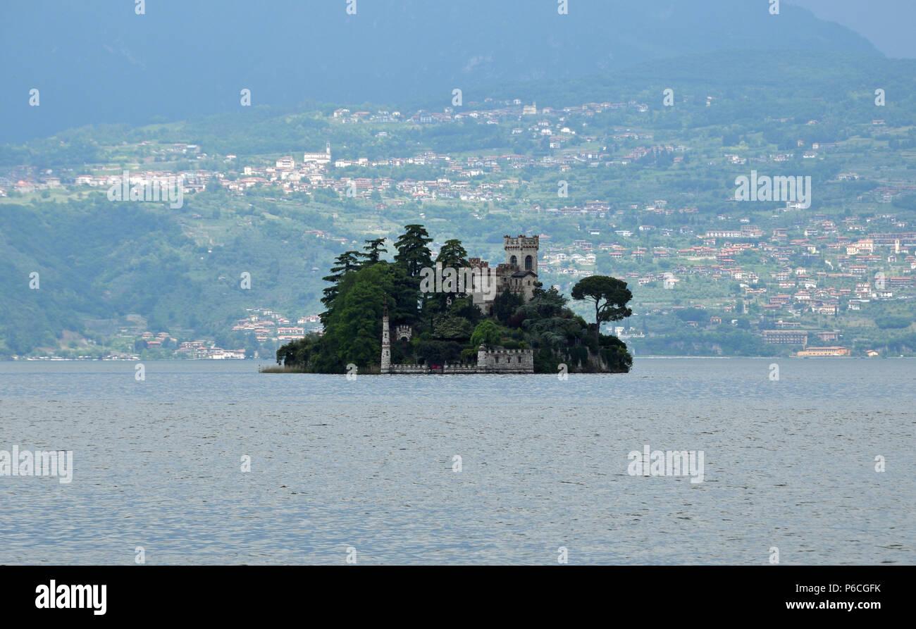 Castle Island on Lake Iseo - Stock Image