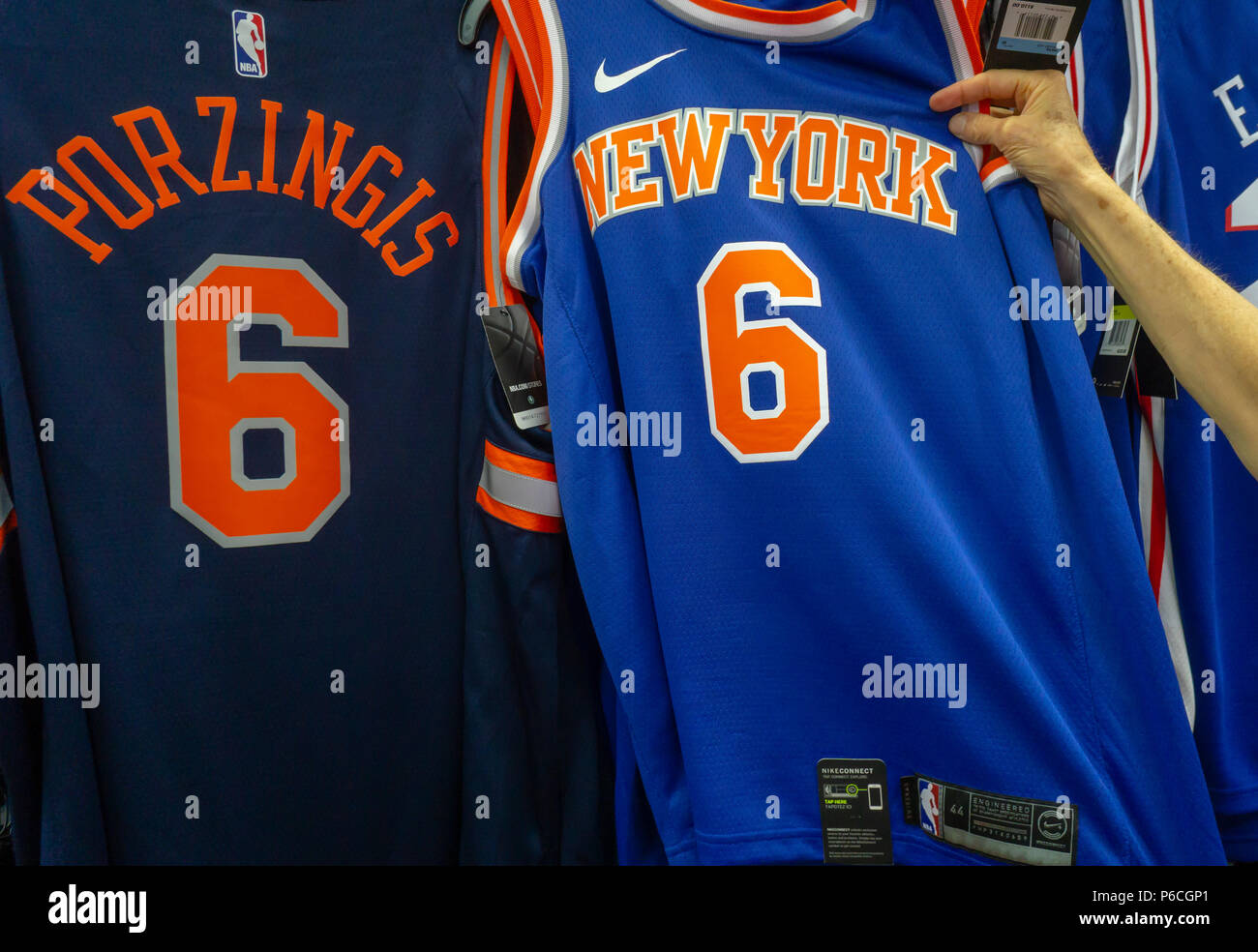 1a11259e7 New York Knicks basketball apparel in a sporting goods store in New York on  Thursday