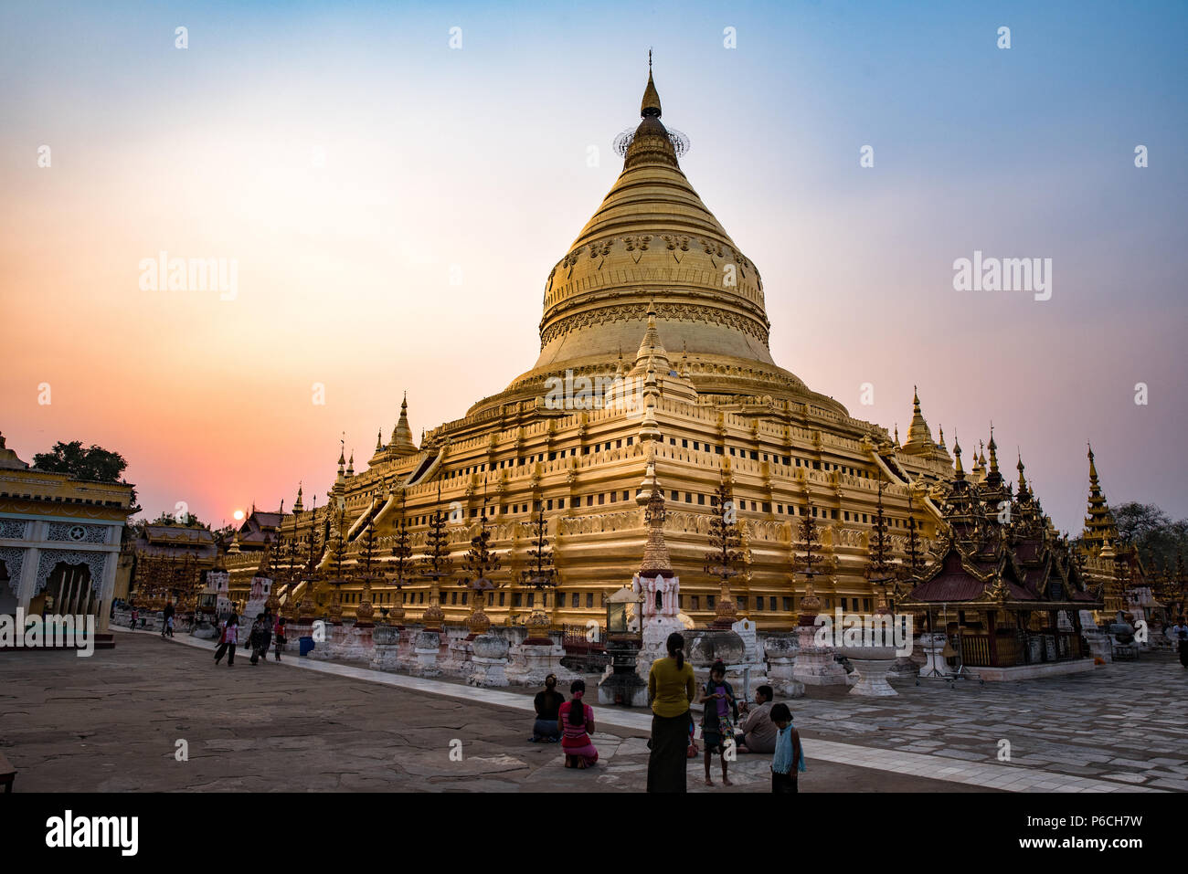 Golden Shwezigon pagoda in Bagan, Myanmar Stock Photo