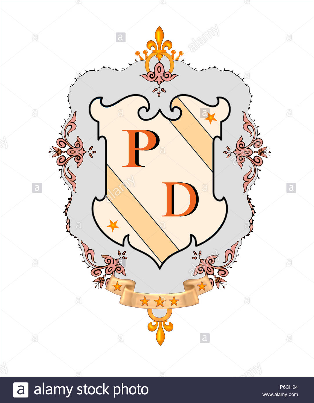 decorative design surrounding bold initials for sticky labels on