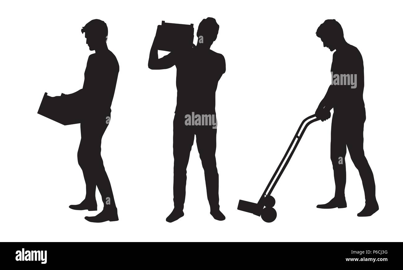 Set silhouette of a man carrying a box and carrying a cart - vector - Stock Image
