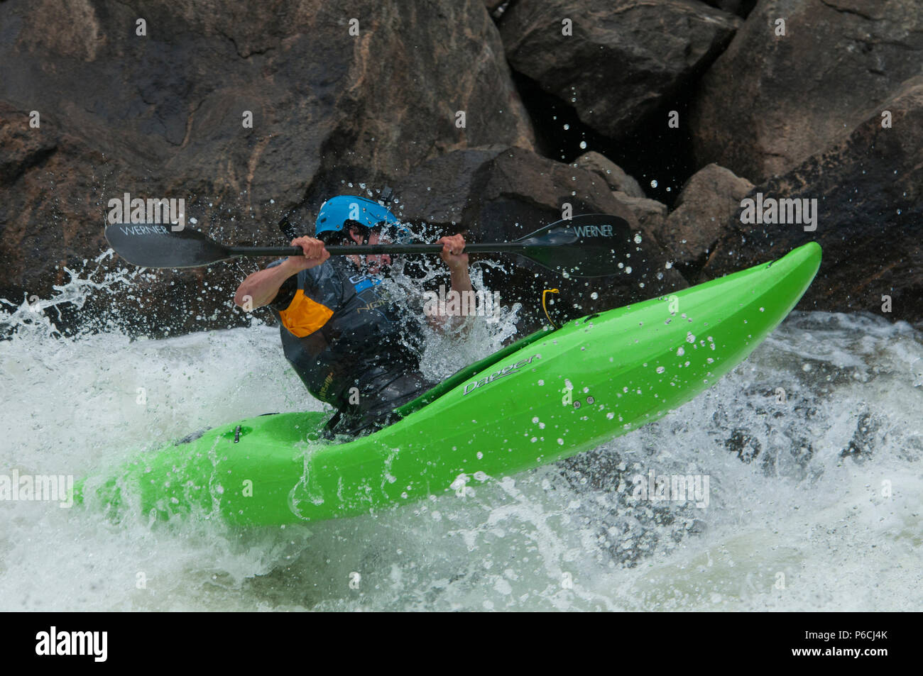 Kayaking on the North Fork Payette River in the 2018 North Fork Kayak Championship - Stock Image
