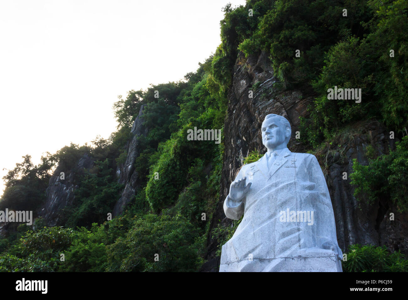 Ha Long Bay, Vietnam - October 22,2017: Statue of cosmonaut Gherman Titov on Ti Top Island in Ha Long Bay, a UNESCO World Heritage Site and popular tr - Stock Image