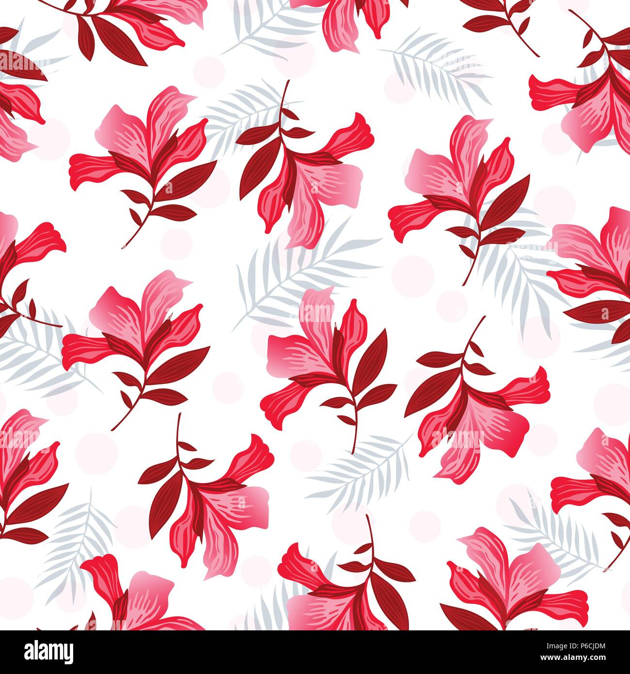 Seamless Vector Floral Pattern Spring Summer With Hand Drawn Pattern