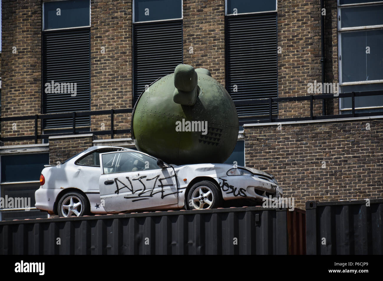 Artistic installation in the Brick lane district, London. - Stock Image
