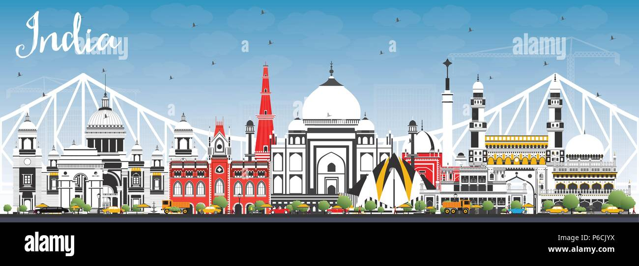 India City Skyline with Color Buildings and Blue Sky. Delhi. Hyderabad. Kolkata. Vector Illustration. Travel and Tourism Concept - Stock Vector