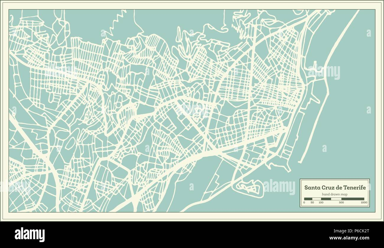 Santa Cruz De Tenerife Spain City Map In Retro Style Outline Map Vector Illustration Stock Vector Image Art Alamy