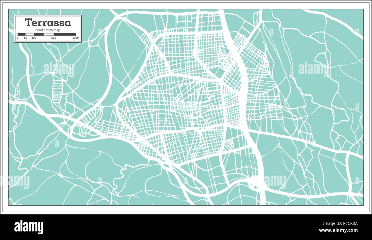 Terrassa Spain City Map In Retro Style Outline Map Vector