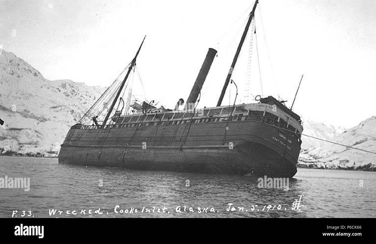 English: Wreck of the FARALLON, Iliamna Bay, January 1910