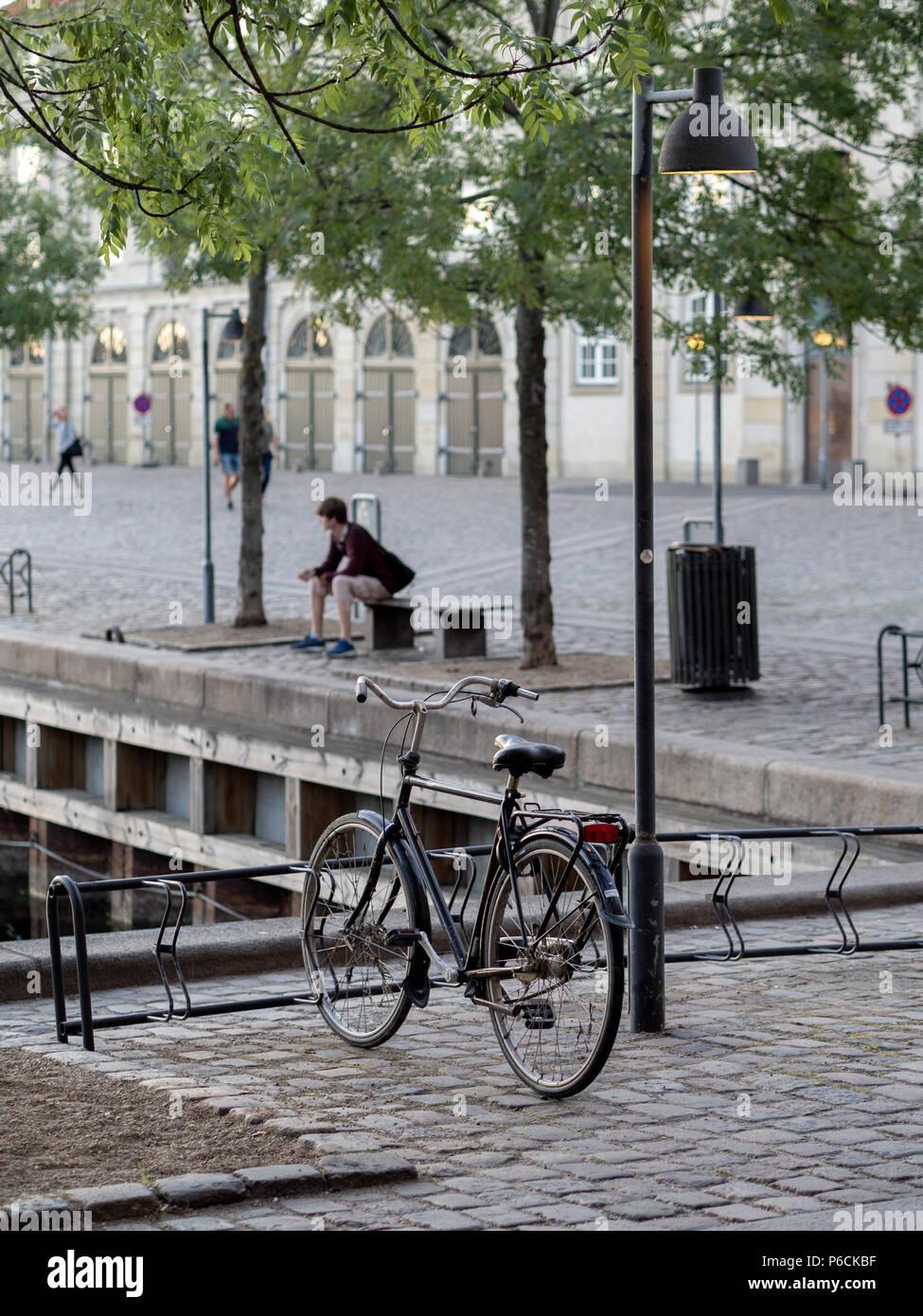 Copenhagen - Street with bike - Stock Image