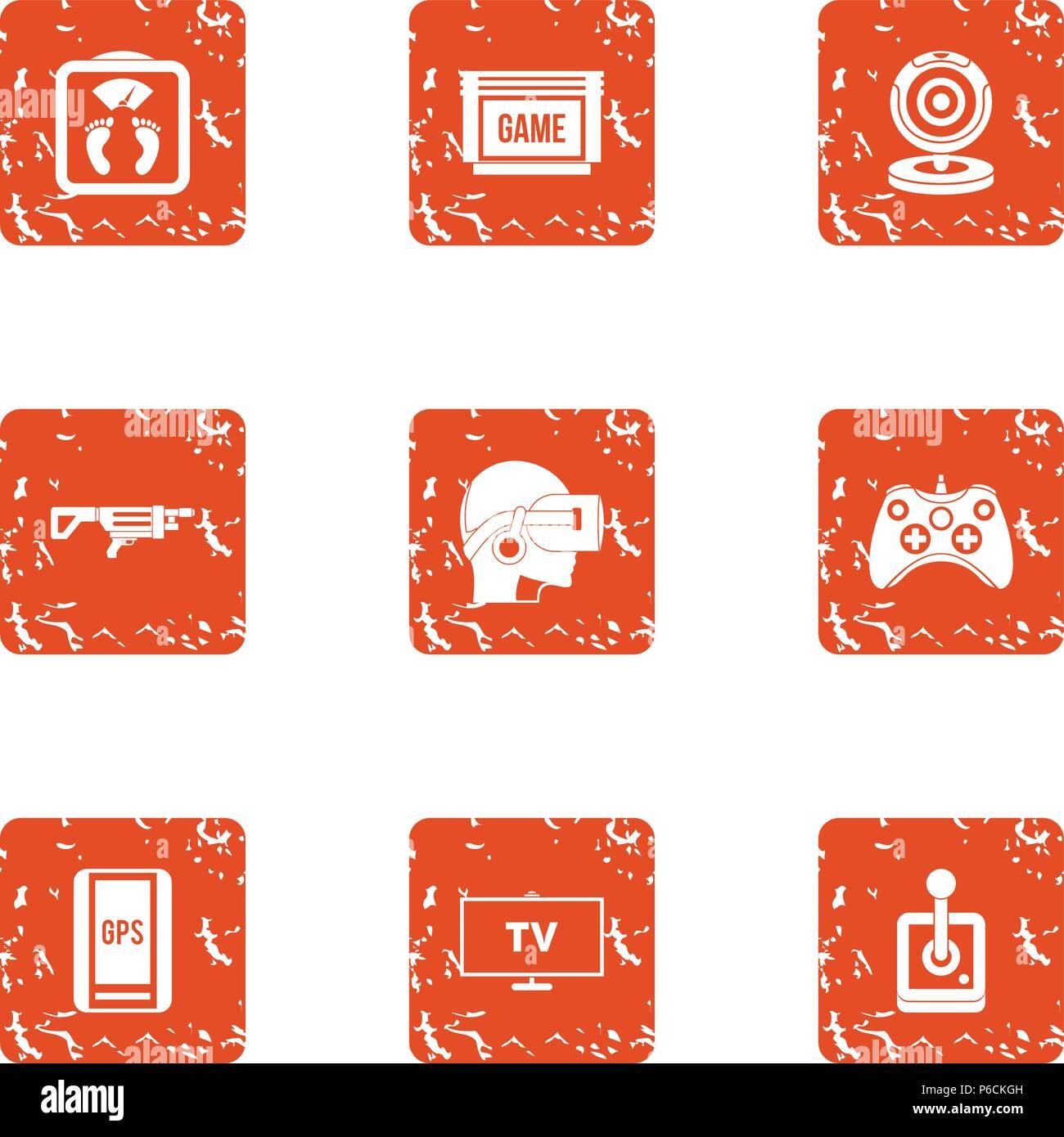 Esport player icons set, grunge style - Stock Image