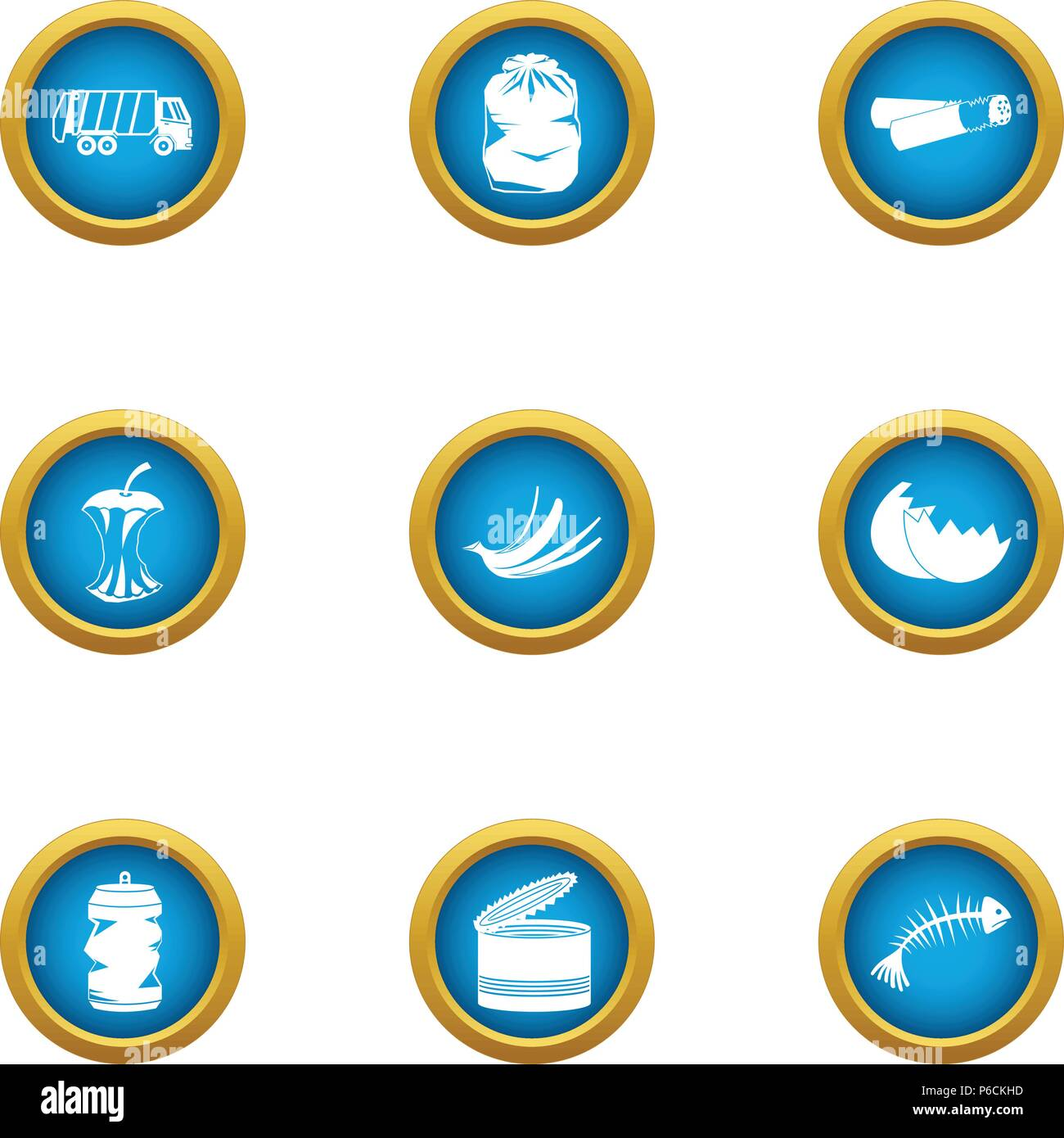 Landfill icons set, flat style - Stock Vector