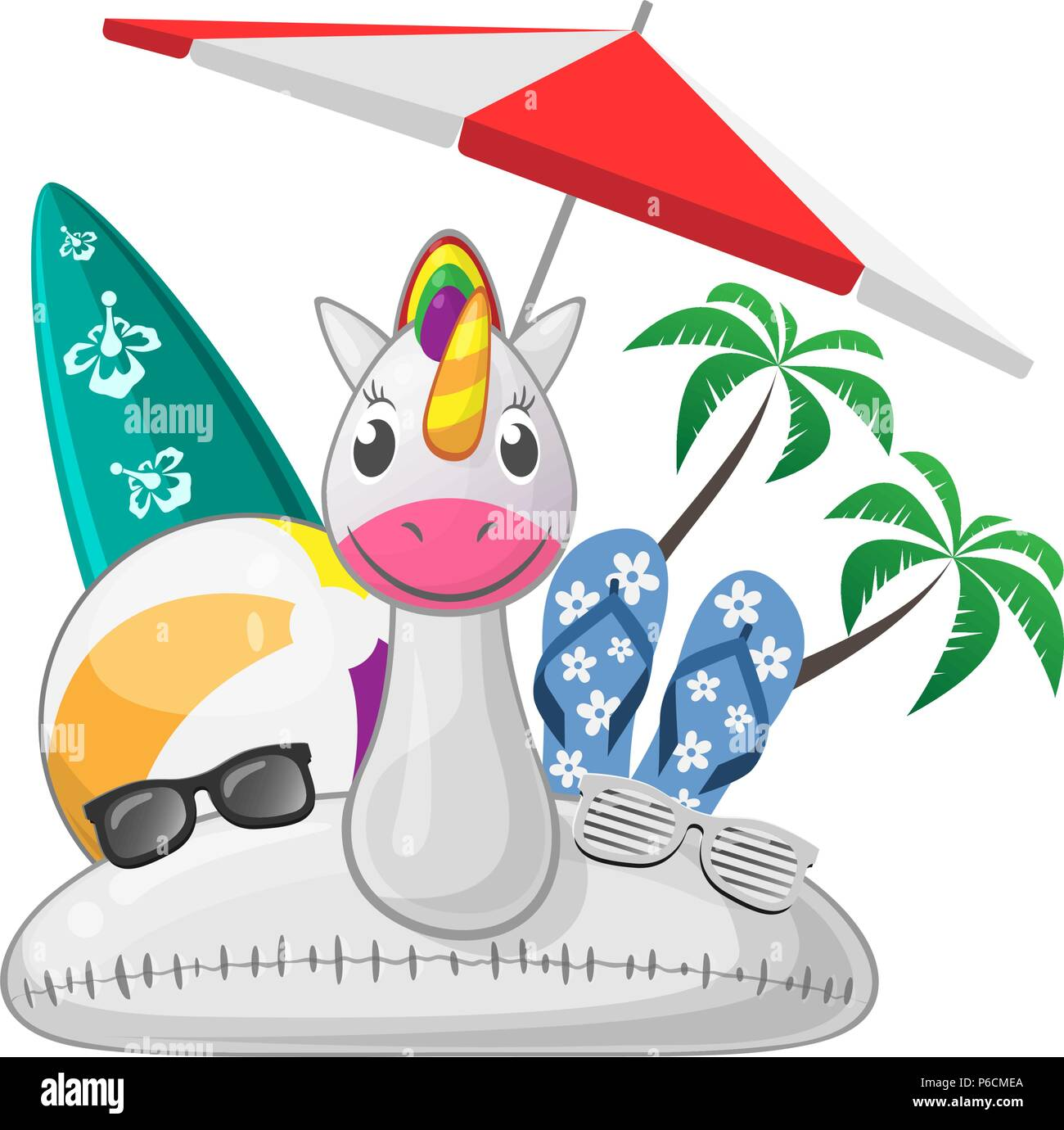 Summer beach set with unicorn swim ring beach ball surfboard flip flops sunglases parasol - Stock Image