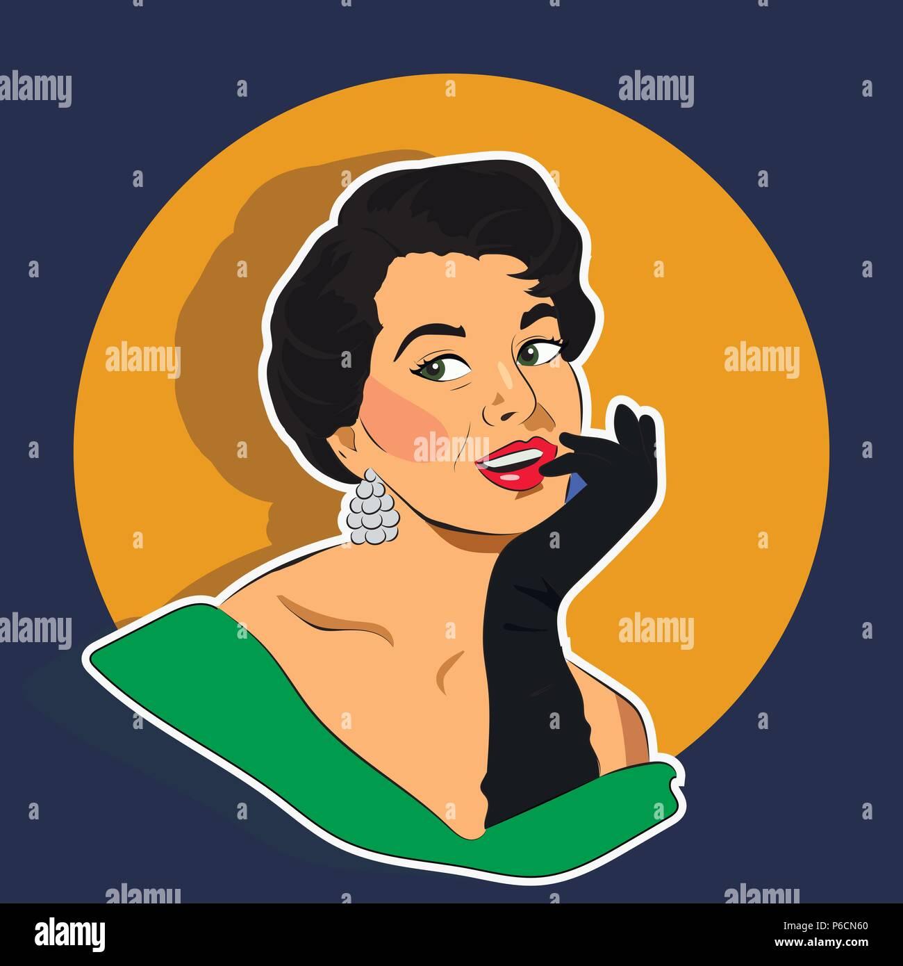 Beaming Woman - Retro Clip Art - Stock Vector