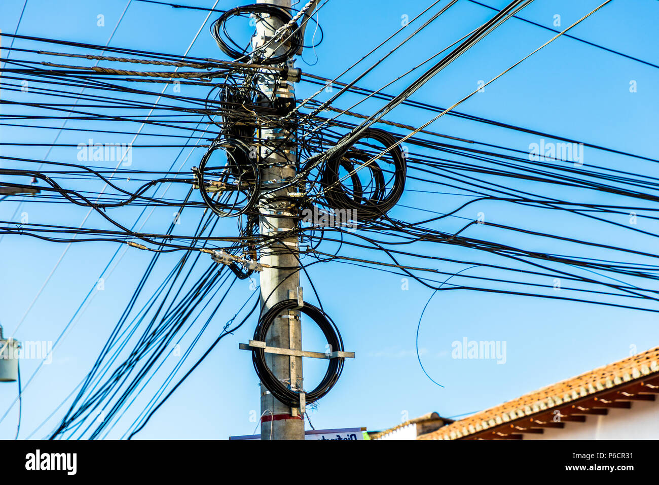 Leon Nicaragua February 2018 A View Of Messy Wiring In