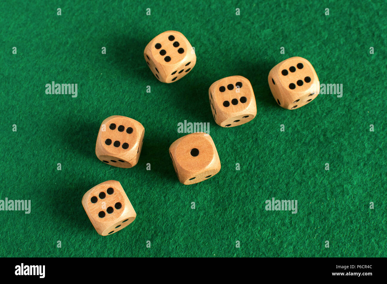 Wooden Round Corner Dice Six Sided Dots Set For Playing On Dark - Six sided table