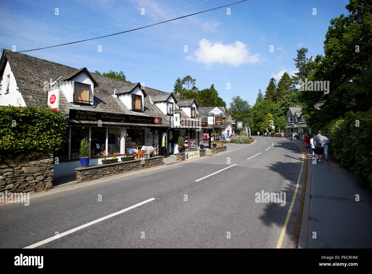post office and grasmere weavers shop in grasmere lake district cumbria england uk - Stock Image