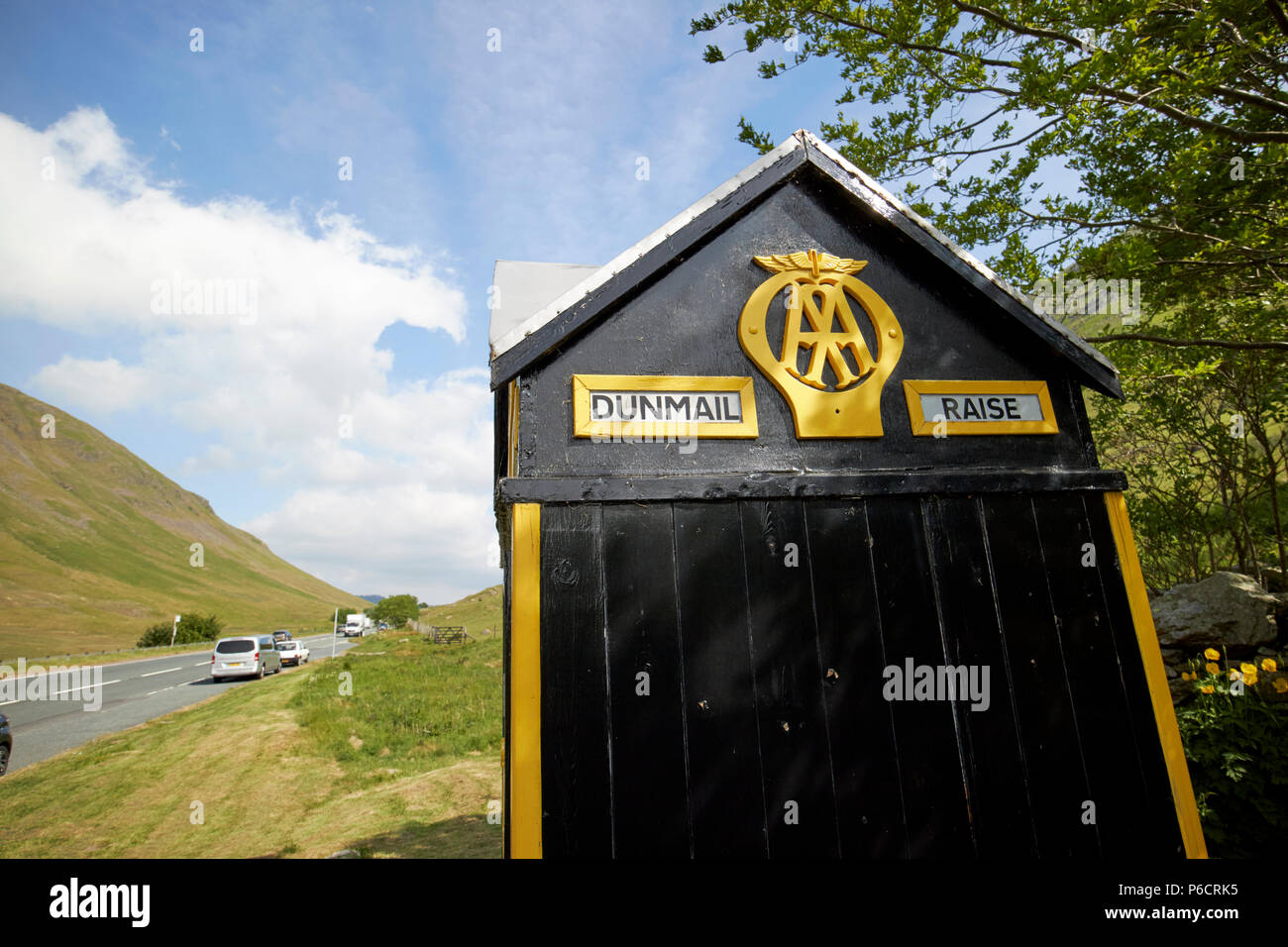 old aa telephone box on the a591 dunmail raise in the lake district cumbria england uk Stock Photo