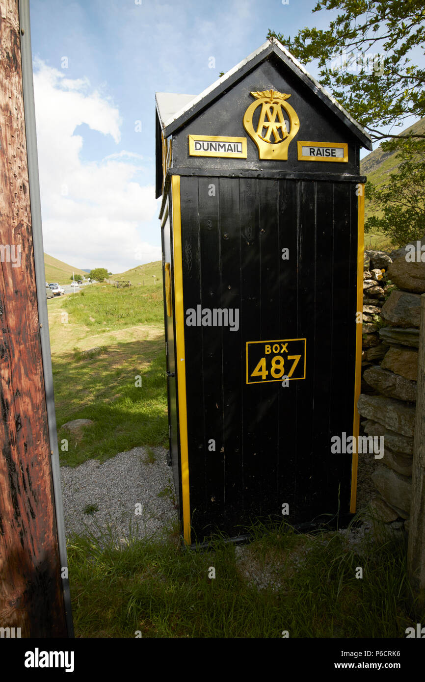 old aa telephone box with wooden telegraph pole on dunmail raise in